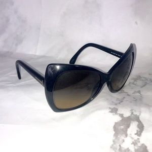Tom Ford black oversized cat eye black sunglasses